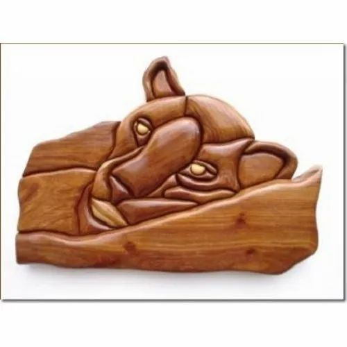 Wooden Sleeping Lion Hand Work Faces, For Decoration