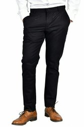 Regular Fit, Slim Fit Black Mens Casual Cotton Lycra Trouser, 34.0