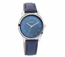 Titan Women Round Workwear Watch with Blue Dial & Leather Strap 2639SL02