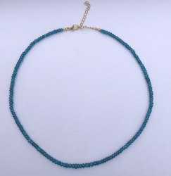 Blue Topaz Faceted Gemstone Beads Necklace With Silver Fish Clasp