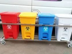 22 L Bio Medical Wast Bin With SS Trolley