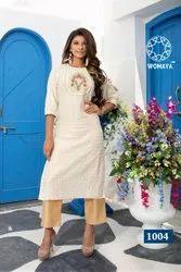 Womaya Cohra Silk Handwork Kurti With Pants