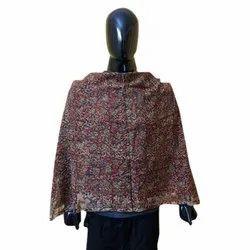 Red Casual Wear Cotton Khadi Silk Handmade Printed Stoles