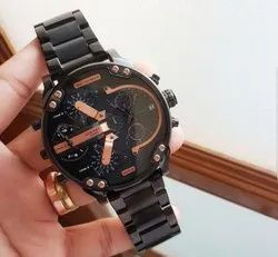 Diesel 3 Bar Black And Rose Gold Watch