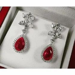 Red Stone Diamond Earrings