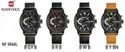 Naviforce Black Belt Chronograph Watch Watch, Day & Date Display Nf9068l/aavalable In 4 Colors