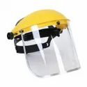Pvc Yellow Safety Helmet With Visor, For Construction, Size: Medium