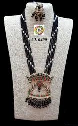 Cl Code Bollywood Style Designer Fancy Meenakari Stone & Crystal Beads Fashion Jewellery Necklace