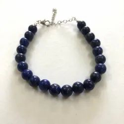 8mm Blue Lapis Lazuli Round Beads Silver Bracelets Fashion