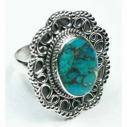 Blue Copper Turquoise Silver Rings