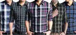 Full Sleeves Collar Neck Men Cotton Casual Checked Shirt