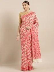 Beige & Red Silk Cotton Woven Design Jamdani Saree