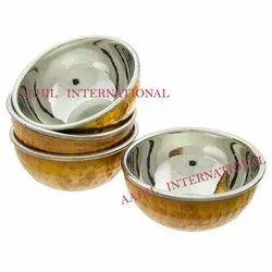 Hammered Copper Steel Serving Bowl / Copper Steel katori