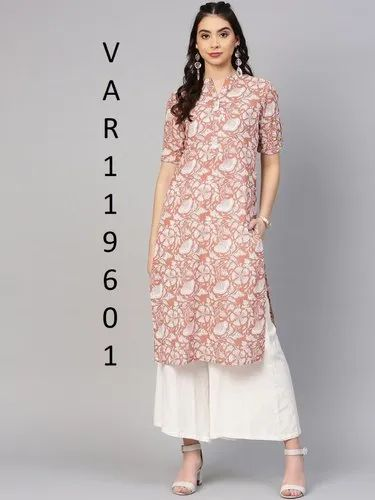 Straight Digital Printed 100% Pure Cotton Printed Kurtis, Size: M