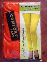 4 Way Lycra Fabric Plain COMFORT LADY INDOCUT LEGGINGS, Size: Free Size