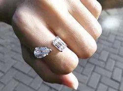 Emerald Pear Moissanite Ring