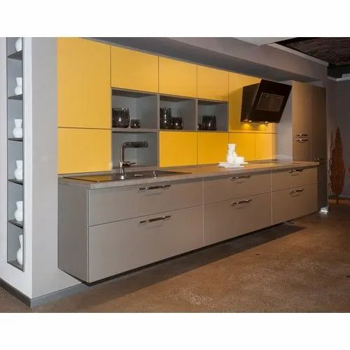 Grey And Yellow Mdf Laminated Kitchen Cabinet Rs 100000 Unit Surekha Enterprises Id 22110509397
