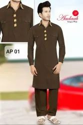 Cotton Casual Brown Pathani Suit