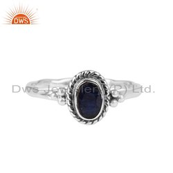 Blue Sapphire Gemstone Oxidized Silver Rings