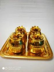 round Golden Brass Coated Chocolate Boxes For Corporate Gifting