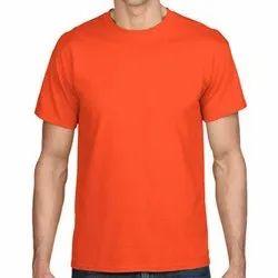 Cotton Plain Mens Orange Round Neck T Shirt
