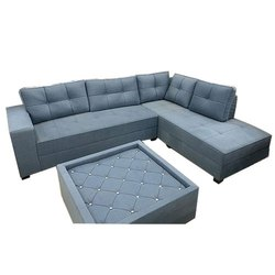 Grey Color L Shape Sofa Set