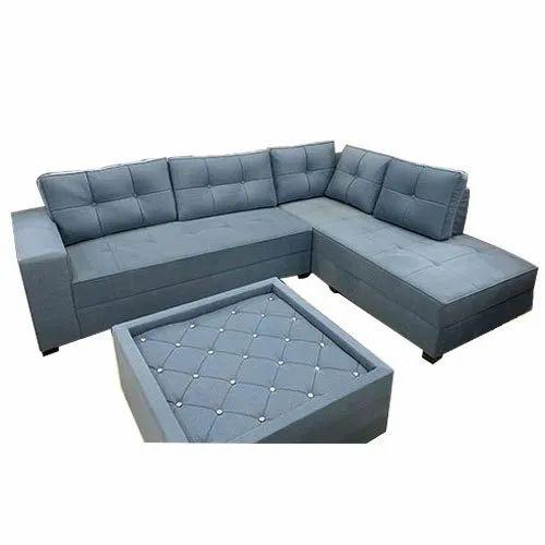 Grey Color L Shape Sofa Set