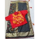 Party Wear Ethnic Dola Silk Saree, Packaging Type: Plastic Bag, With Blouse Piece