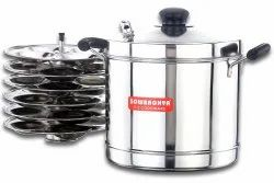 Sowbaghya Non Stick Induction Base Stainless Steel Idly Cooker (6 plates) for Kitchen