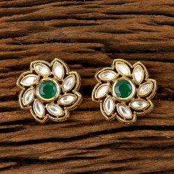 Kundan Tops Earring with Gold Plating 300294