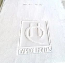 White Cotton Embossed Logo Hotel Towel, Size: 30x60