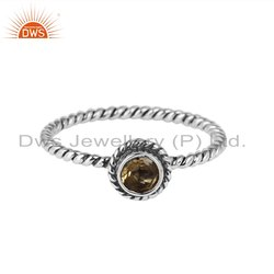 Natural Citrine Gemstone Twisted Design Womens Oxidized Silver Rings