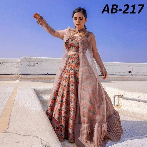 6583dfafa8a Semi Stitched Floral Digital Printed Taffeta Silk Indo Western Dress ...