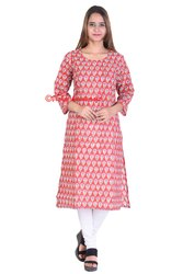 Classical Indian Red Floral Ladies Kurts Long