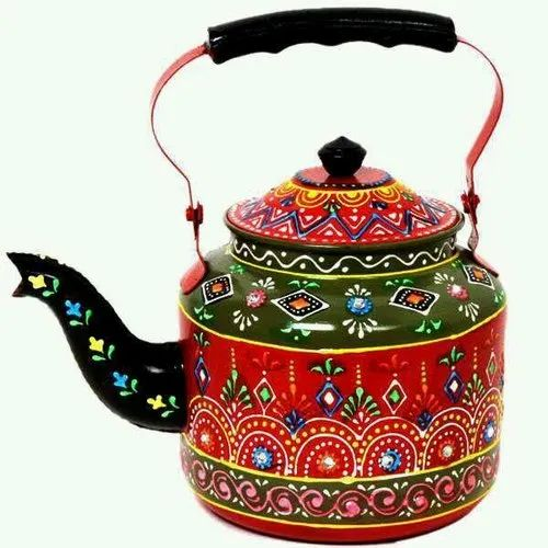 Tiya Art And Crafts Multicolor Aluminum Hand Painted Tea Kettle, For For Decorative