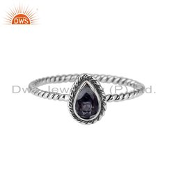 Pear Shape Iolite Gemstone 925 Silver Oxidized Rings Jewelry
