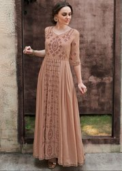 Khaki Brown Embroidered Rayon Gown