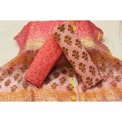 Printed Cotton Suit With Kota Doria Silk Jari Border Dupttaa