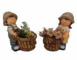 Boy & Girl Small Figure Garden Flower Planter Pot For Home Decor & Balcony By Wonderland
