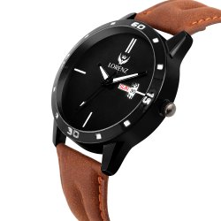 Lorenz White Dial Leather Strap Day & Date Watch for Men- MK-208W