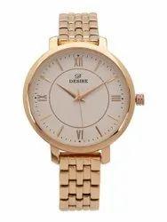 Desire Round Mens Golden Wrist Watch