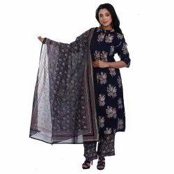 Rayon Stitched KAJJRA Woman's A-line salwar suit (Blue), Handwash