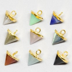 Gemstone Cone Shape Gold Cap Pendant
