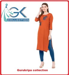Ladies Rayon Orange Embroidery Kurti
