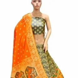 Exclusive Designer Heavy Bridal Wear Yellow Banarasi Lahenga