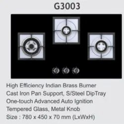 G3003 Three Burner Gas Stove, For Kitchen, Size: 780x450x70mm