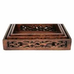 Wooden Serving Tray - Set of Three (Burned)