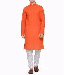 Mens Cotton Orange Plain Kurta, Size: Large
