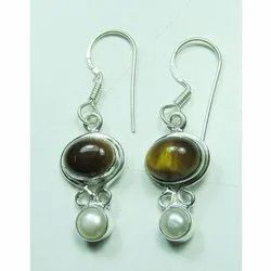 Tiger Eye with Pearl 925 Sterling Silver Earrings