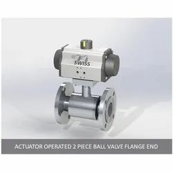 Actuator Operated 2 Piece Ball Valve Flange End
